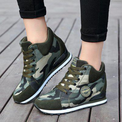 womens shoes Increased slope with camouflage wedge hidden heel sneakers