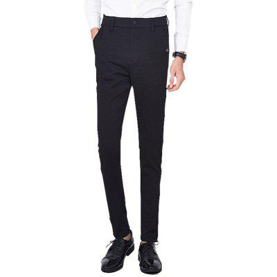 Men'S Solid Color Casual Slim Straight Trousers