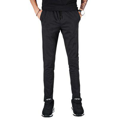 Men'S Solid Color Slim Casual Lace Trousers