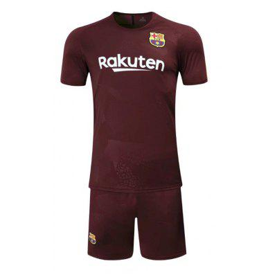 The 17-18 Season Barcelona Second Road Home Court Soccer Wear Short Sleeved Suit