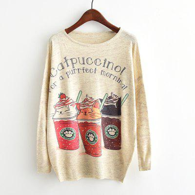 Buy BEIGE New Arrivals Autumn Winter Women Fashion Crewneck Batwing Sleeve Cat Ice Cream Printed Knitted Sweater Loose Knitwear Pullovers Tops Outerwear for $14.56 in GearBest store