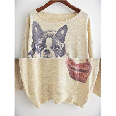 New Arrivals Autumn Winter Women Fashion Crewneck Batwing Sleeve Cartoon Dog Ice Cream Cake Print Knitted Sweater Loose Knitwear Pullovers Tops Outerwear lip print batwing sleeve sweater