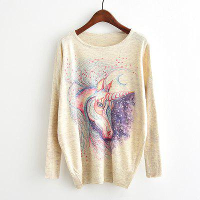 Buy BEIGE New Arrivals Autumn Winter Women Fashion Crewneck Batwing Sleeve Colorful Horse Print Cartoon Unicorn Knitted Sweater Loose Knitwear Pullovers Tops Outerwear for $14.56 in GearBest store