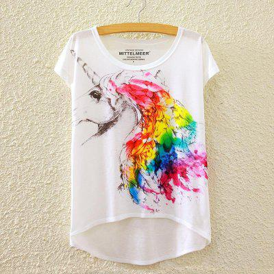 Sommer neue Grafik Digital Print Short T Shirt Bluse lose Damen White T-Shirt Kurzarm Baumwolle Blended Tops Outwear für Frauen