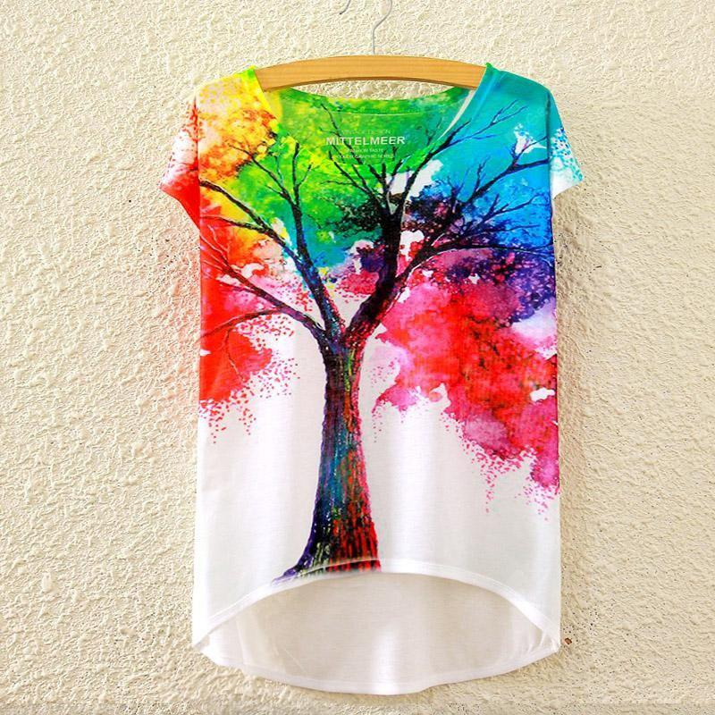 Summer New Graphic Digital Print Short T Shirt Blouse Loose Ladies White T-shirt Short Sleeve Cotton Blended Tops Outwear for Women
