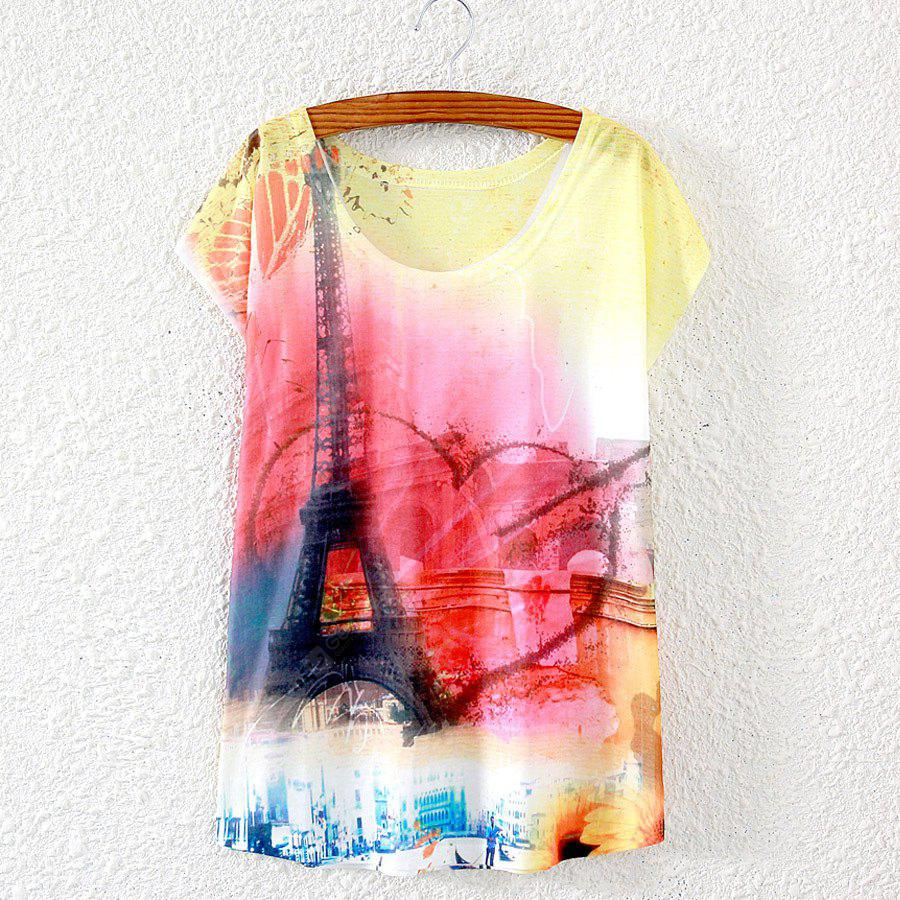 New Summer Batwing Tops Woman Short Sleeved Loose Elegant Big Size T-shirt Graphic Digital Print Blouses All Match Casual Tee