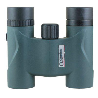 Kinglux Optics 8x22mm Compact Portable Roof Prism Binoculars with Green Fully Multi Coated and Twist Up Down Eyepieces