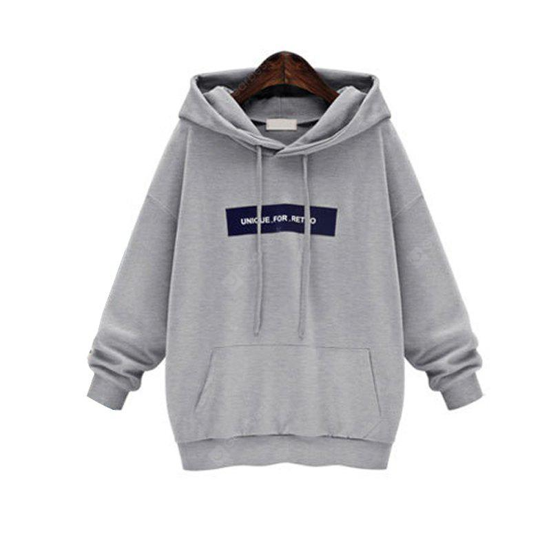 GRAY XL Loose And Large Long Sleeve Hoodie