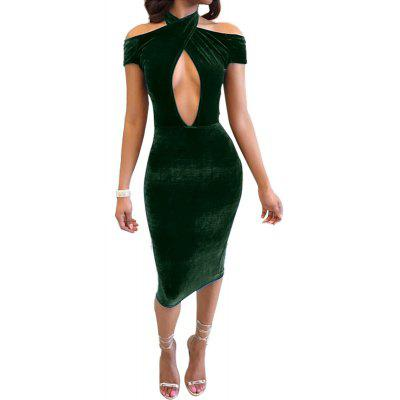 Hollow Out Hanging Neck Backless Pleuche Nightclub Strapless Dress