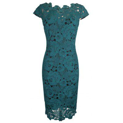 New Style Woman Summer Fashion Europe & America Elegant Sexy Lace Hollow Out Sheath Shift Pencil Dress