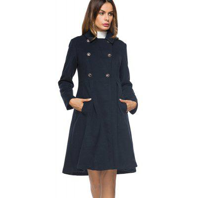 Women's Fashion Suit Collar Double Breasted In The Long Woolen Coat