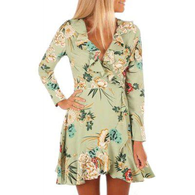 Women's Sexy V-Neck Print Long Sleeve Waist Dress