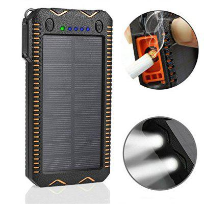 Solar Charger 20000mAh Solar Power Bank with Smoke  Lighter Dual Super Bright LED Light Water-Resistant Dustproof