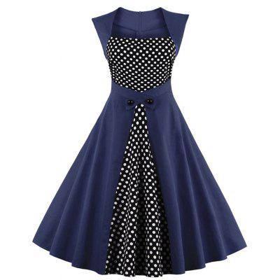 Vintage Retro Women Dress Sleeveless Polka Dot 2017 Summer Party Evening Vestido Elegant Ladies Red A Line Plus Size 4XL