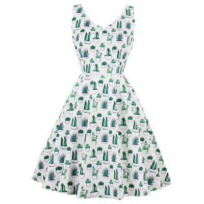 Cactus Print Vintage Dress White Women V Neck Sleeveless Backless 2018 Summer Cactuses Casual Pleated Dresses