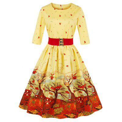 New Autumn Spring Maple Leaf Print Vintage Women Dress Retro Herburn 50S Rockabilly Robe Pin Up Belt Party Dresses Vesti