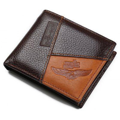 Genuine Leather Men Wallets Pocket Zipper Coin Purse (Eagle)