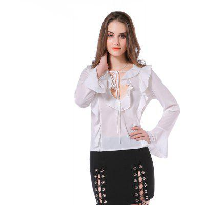 Women's Blouse Long Sleeve Ruffles Sexy Hollow Out Blouse