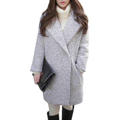 Women's Wool Coat Notched Collar Long Sleeve Tweed Pocket CoatWomen's