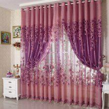 Simple Modern European Style High Grade Lily Half Shade Rotten Flower Yarn Finished Curtain