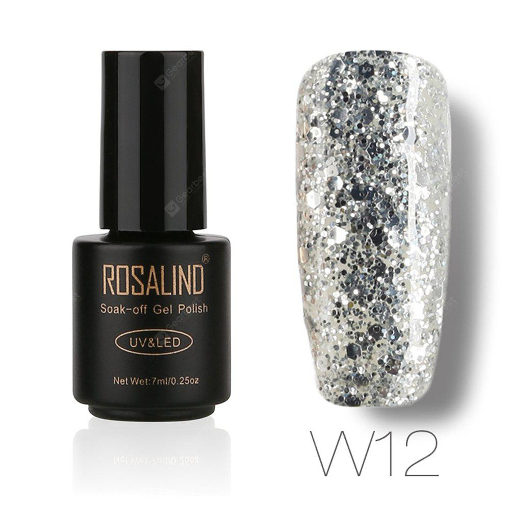Buy ROSALIND Black Bottle 7ML Diamond Glitter W01-29 Gel Nail Polish Art UV LED Soak-Off Platin 12
