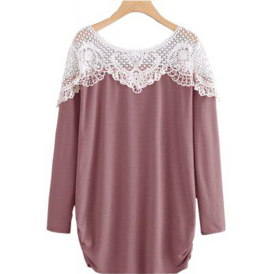 White Lace Stitching Multi-Color Long Sleeve T-shirt