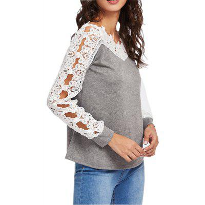 Lace Sleeve Long Sleeved Bottom Top T-shirt