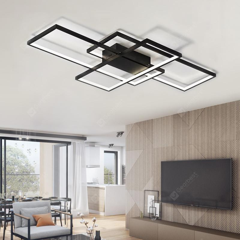 Moderne Sort LED Flush Mount Loft Light Square Combination Form til Office Meeting Room Living Dining Room soveværelser