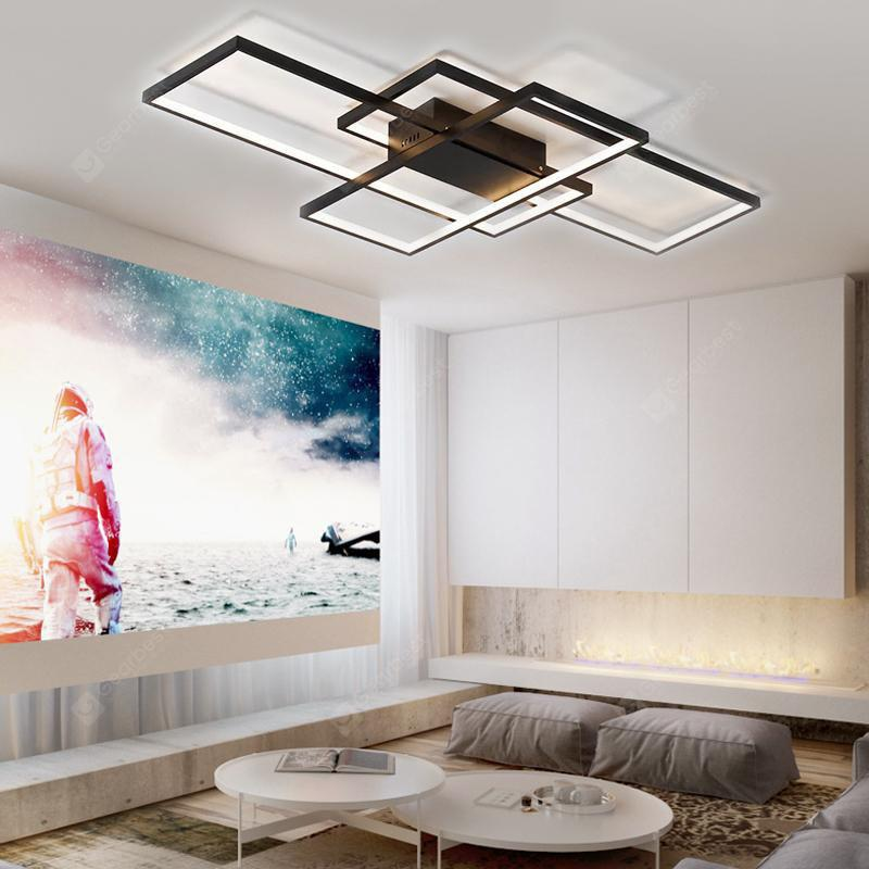 Modern Black LED Flush Mount Ceiling Light Square Combination Shape for Office Meeting Room Living Dining Room Bedrooms - BLACK WARM WHITE