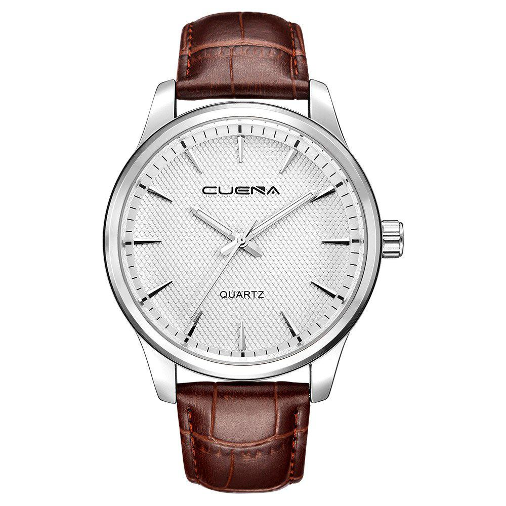 CUENA 6604P Fashion Casual Men Leather Quartz Wristwatch