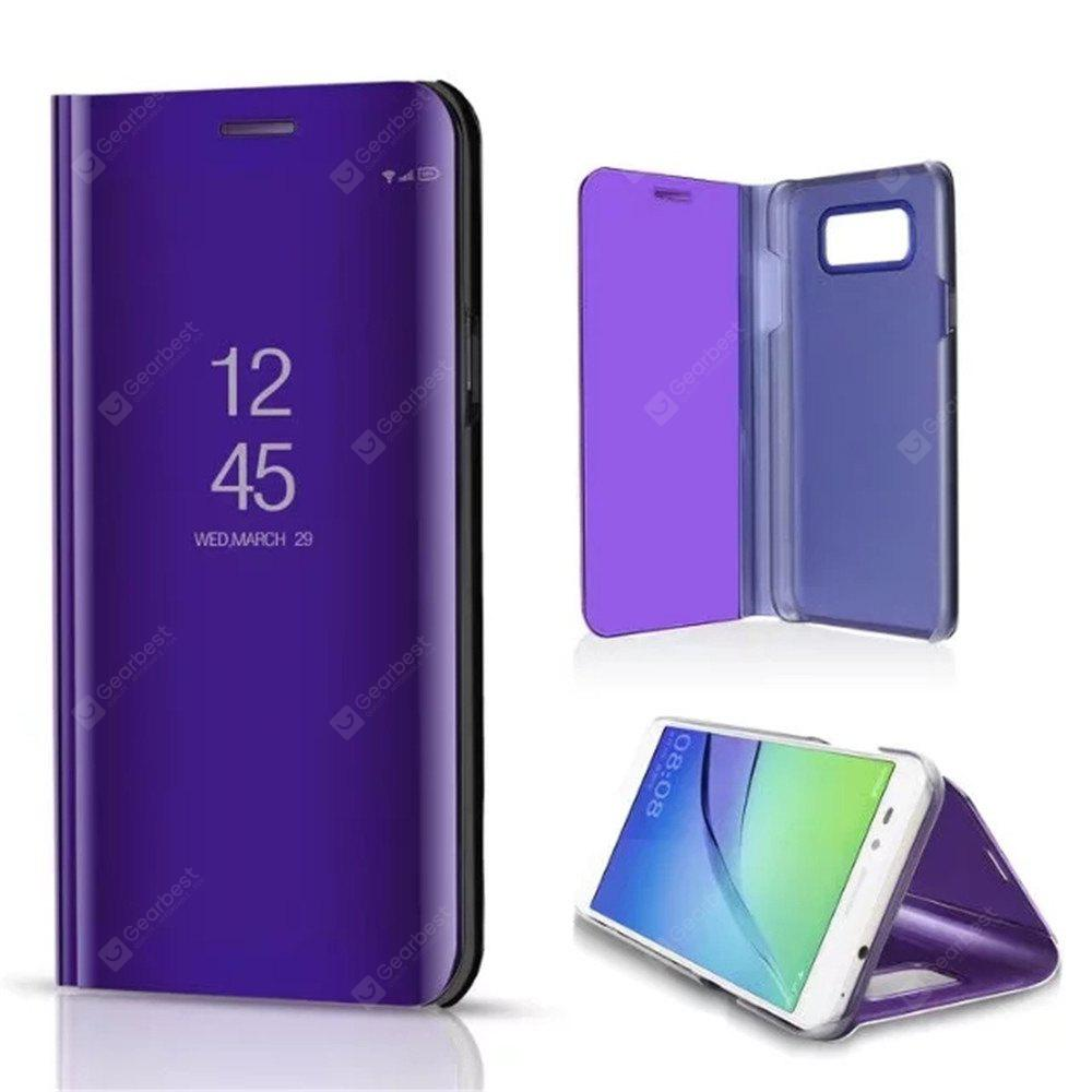 Mirror Flip Leather Clear View Window Smart Cover Samsung Galaxy J7 Nxt Case PURPLE