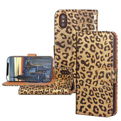 Funda de Cartera Pegable de Cuero PU Estampado de Leopardo Lujo para iPhone X