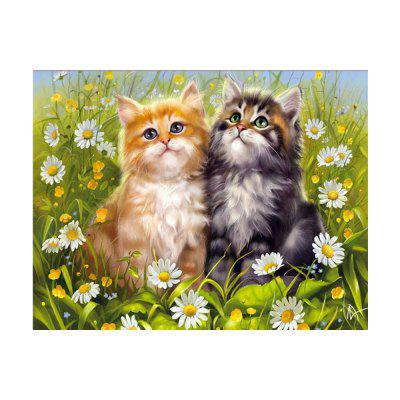 Two Cats Print Draw Diamond Drawing