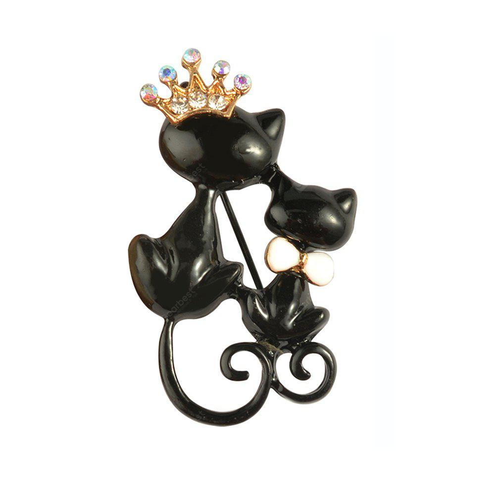 Black Mother Daughter Cats Spille Crystal Crown Queen Corpetti Hijab Pin Cappelli Donna Sciarpa Vestito Spilla Vestiti Fibbie
