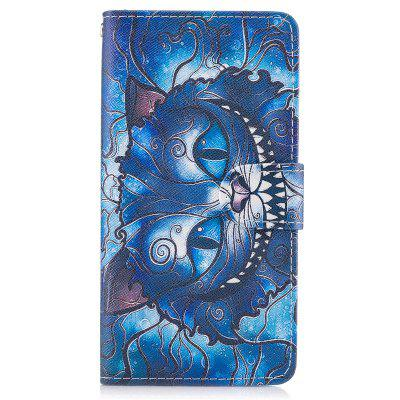 Custodia in pelle blu con cordino per carta blu per iPhone X