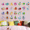 6221 Baby Nursery Wall Sticker Puzzle Educational Learning Animal English Letters - MIXED COLOR