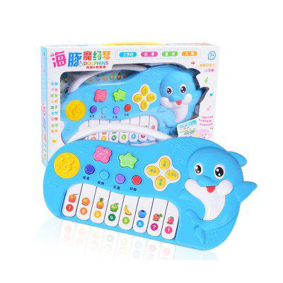 Children simulation musical instrument toy cartoon dolphin electronic piano keys mini music toy electric light