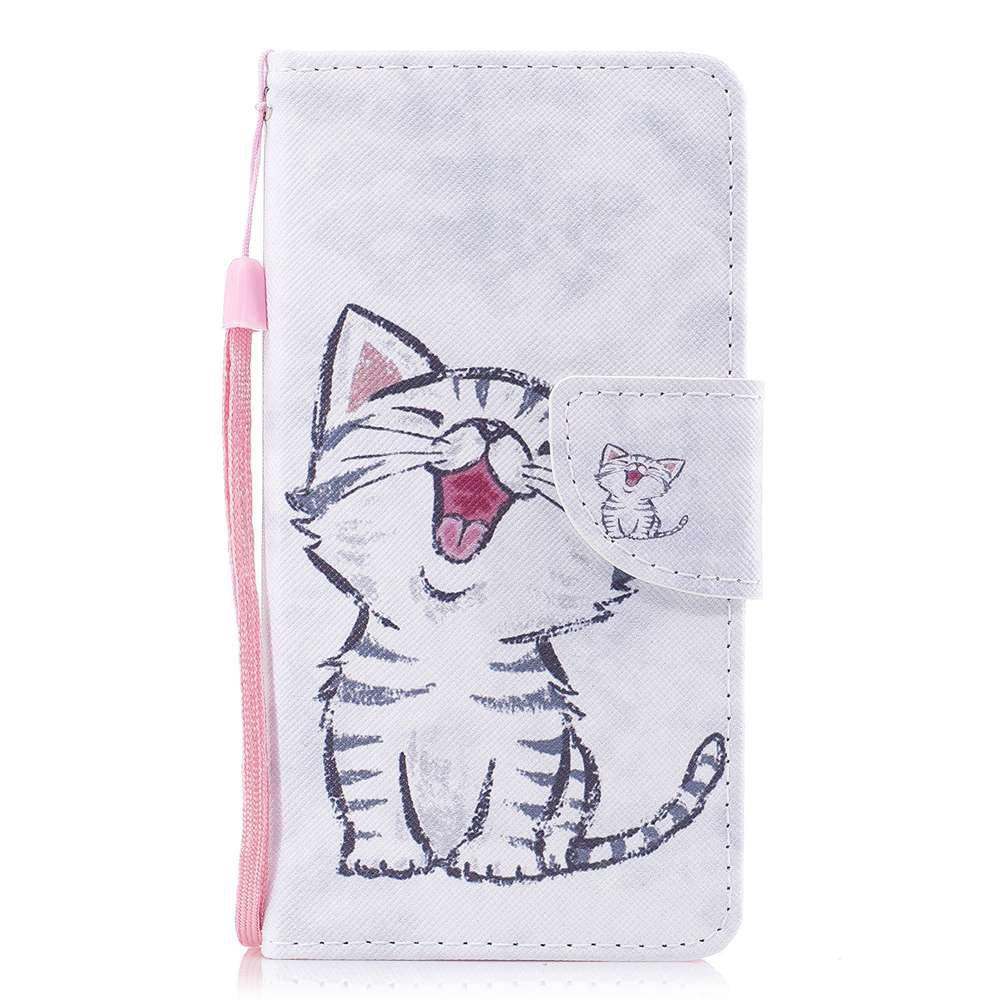 Red-Billed Katze gemalt PU Phone Case für Samsung Galaxy J3 2016