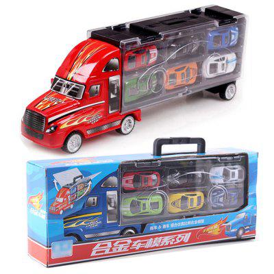 1:30 Scale Diecast Metal Alloy model Toys Diecast Metal truck Hauler with 12 small cars For Children Gifts