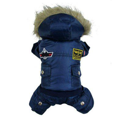Lovoyager LVC1124 New Thick USA Air Force Uniform Four-Legged Dog Winter Coat
