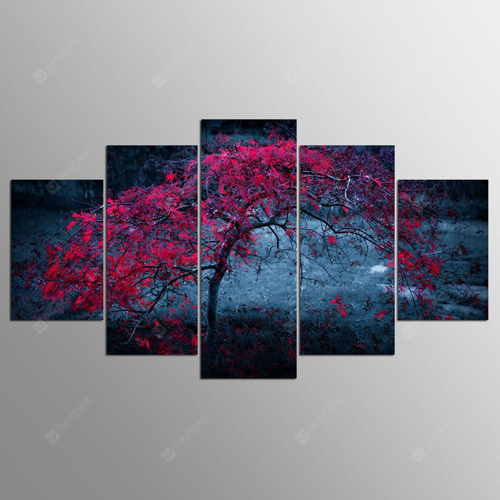 YSDAFEN 5 Set Tree Leaves Purple Autumn Home Decor Arte su tela per soggiorno