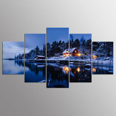YSDAFEN 5 pezzi Modern Home Decoration Stoccolma Svezia Village Winter By Night Painting