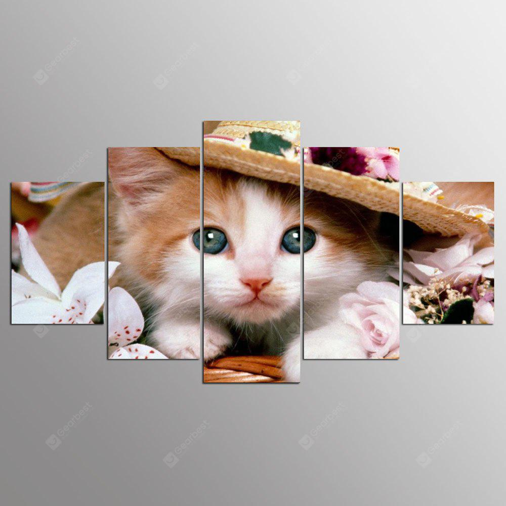 YSDAFEN 5 pannello HD stampato Lovely Cat Canvas Print Home Decor Immagini Wall Art