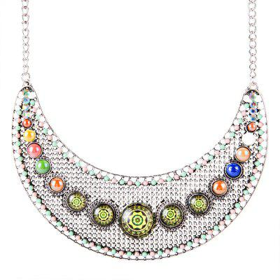 Новый сплав Half Moon Pierced Glass Necklace