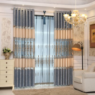 Buy Continental Simple Style Thickened Linen Stitching High-End Embroidery Curtains Grommet BLUE for $114.79 in GearBest store