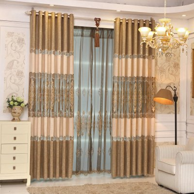Buy Continental Simple Style Thickened Linen Stitching High-End Embroidery Curtains Grommet COFFEE for $104.36 in GearBest store
