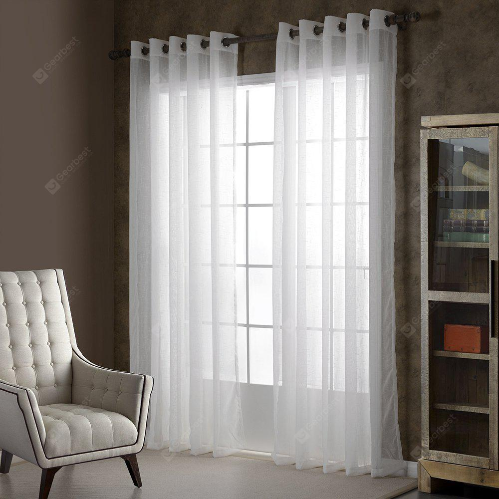 European Simple Style Solid Color Living Room Bedroom Curtains Grommet WHITE