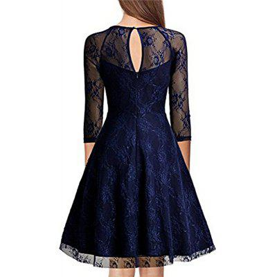 Vintage anni '60 60s 2017 Donne O Collo Slim Sexy Sheer A-Line Pin up Rockabilly Solid 3/4 Sleeve A-Line Fashion Lace Dress