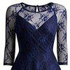 50s 60s 2017 Donne O Collo Slim Sexy Sheer A-Line Pin up Rockabilly Solid 3/4 Sleeve A-Line Fashion Lace Dress - BLU MARINO