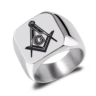 Buy SILVER 12 Titanium Steel Men's Handcrafted Stainless Masonic Simple Black Ring for $13.54 in GearBest store